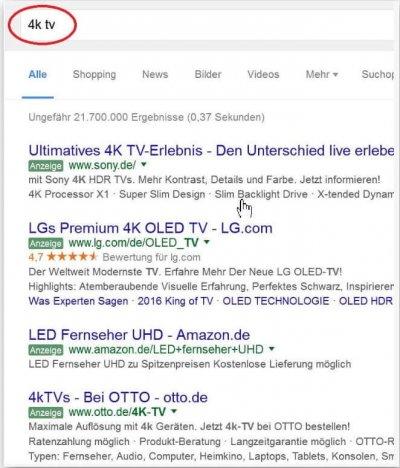 Seiten bei der Googlesuche ausschliessen