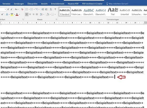 Cursor in Word positionieren
