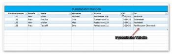 Dynamische Tabelle Rechnungsvorlage