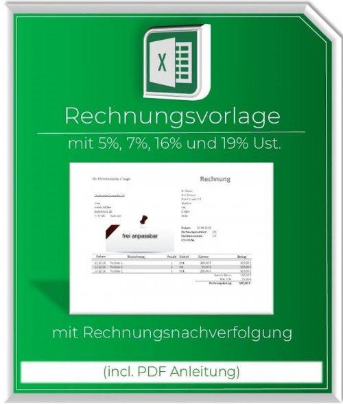 Excel Rechnungsvorlage mit 5%,7%,16% und 19% Steuerausweis