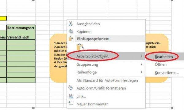 Excel Tabelle in Word bearbeiten