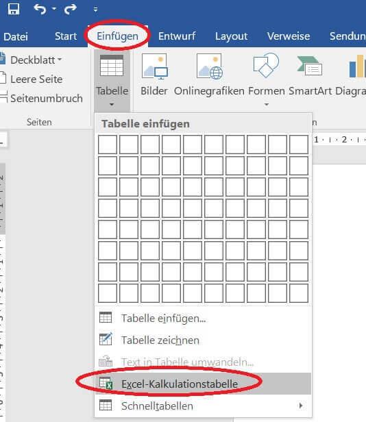 Neue Excel Tabelle in Word einfügen