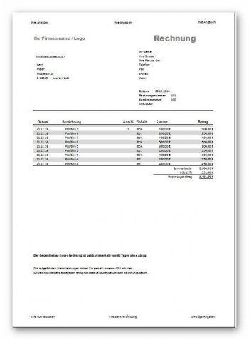 Vorschau Rechnung für Dienstleister