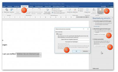 Enable edit protection in Word