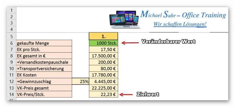 Zielwertsuche Excel