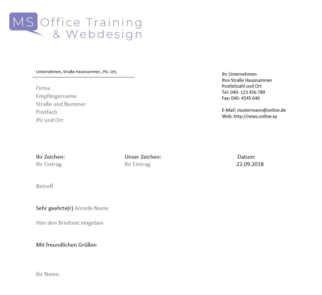 Geschäftsbriefvorlage Mit Steuerelementen Zur Einfachsten Verwendung