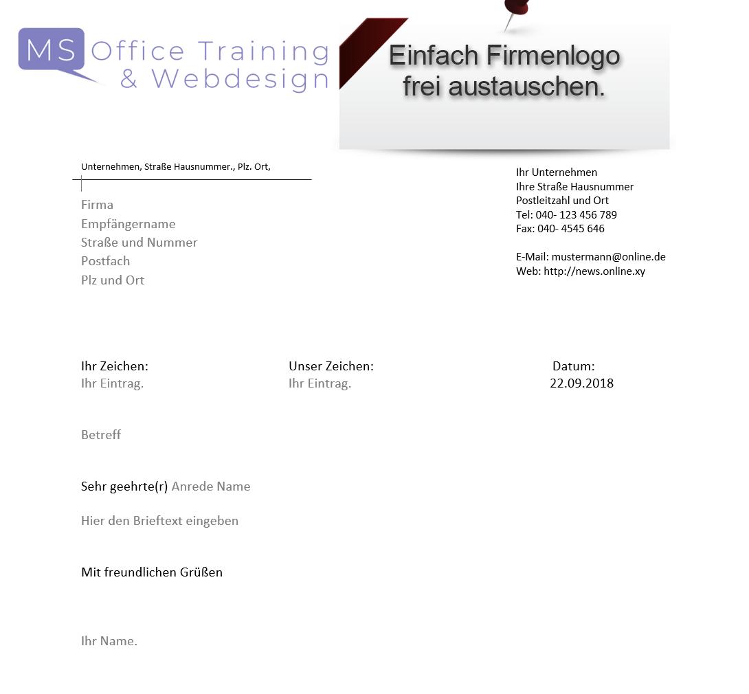 Briefvorlage Office 2016