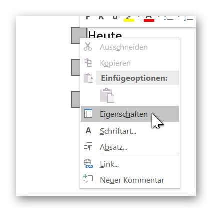 Word 2016 Kontrollkästchen Eigenschaften