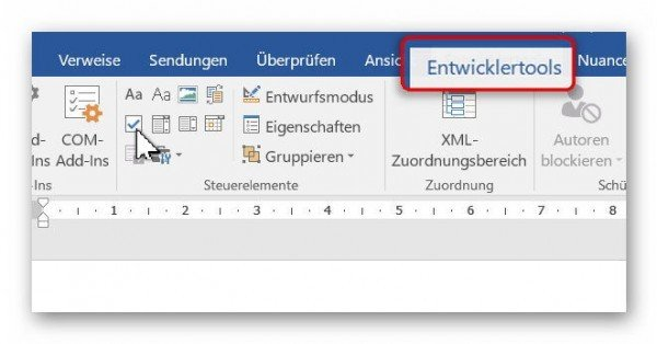 how to create a checkbox in word