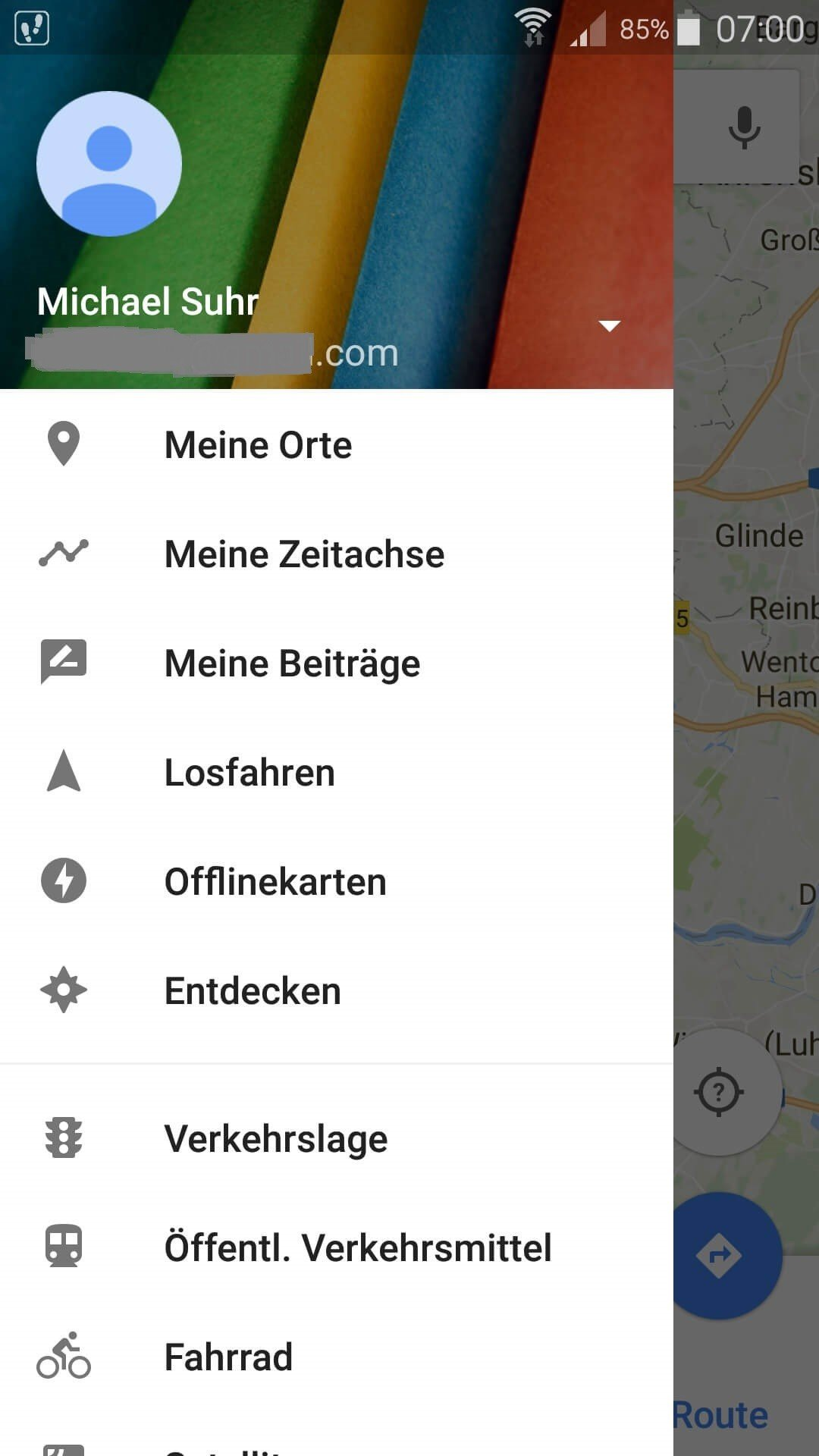 Meine Zeitachse in Google Maps