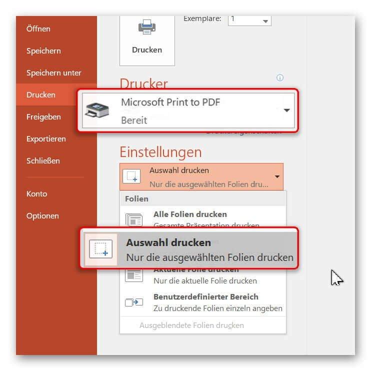 PowerPoint als PDF drucken