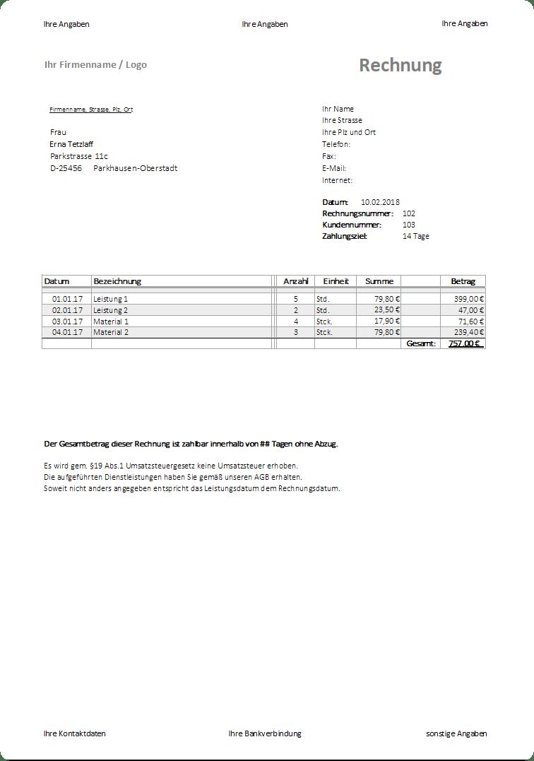 rechnungsvorlage kleinunternehmer