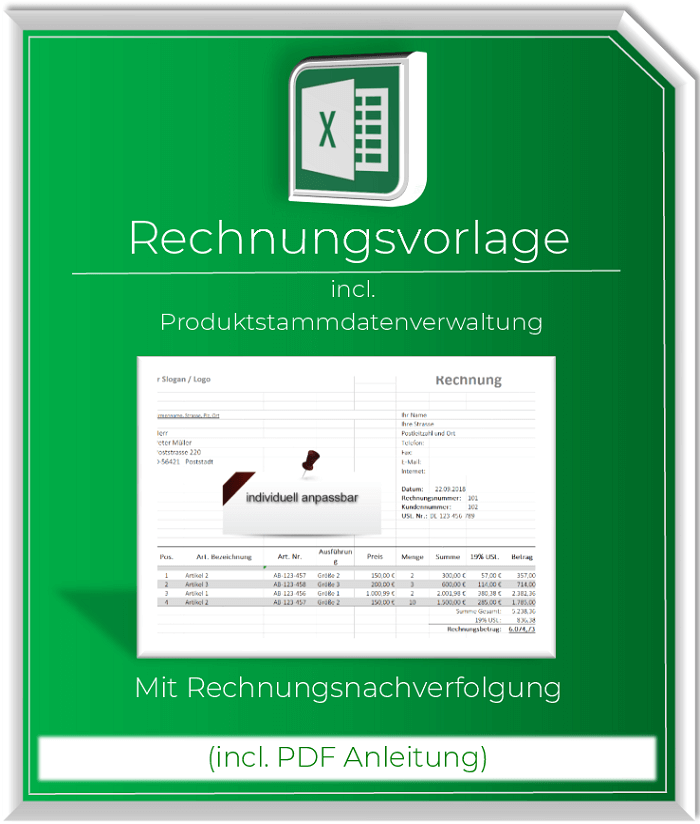 Rechnungsvorlage inc. Produktstammdatenverwaltung+Nachverfolgung