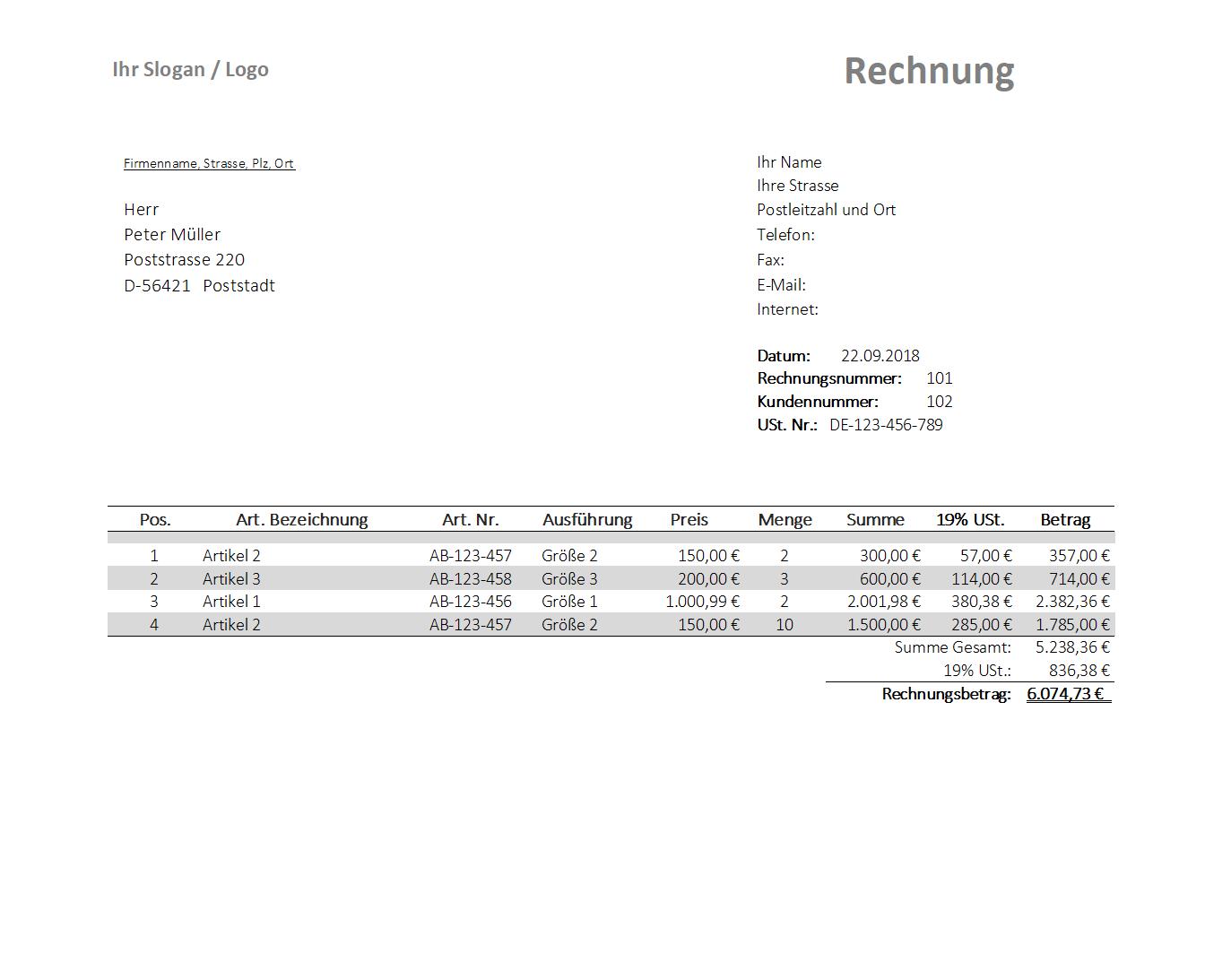 Rechnungsvorlage Mit 19 Ust Auweis Und Rechnungsnachverfolgung