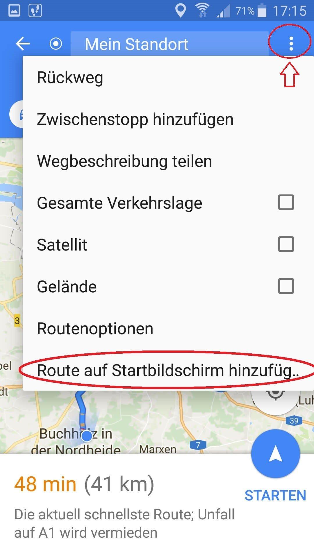 Google Maps Route auf Startbildschirm