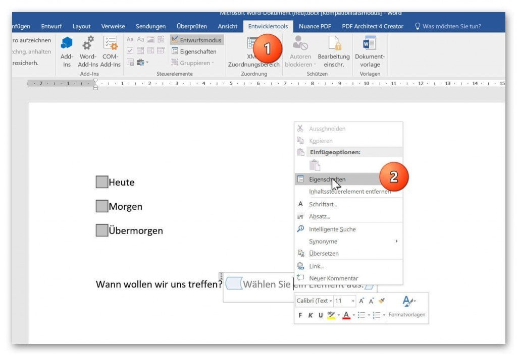 controls dropdown design mode in word