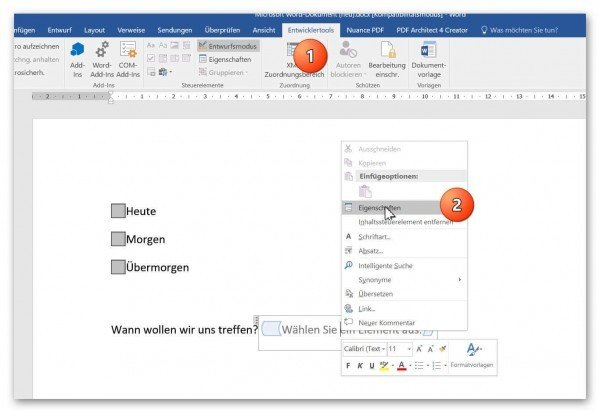 Controls Dropdown Design Mode in Word