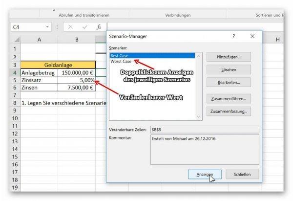 Szenarien in Excel anzeigen