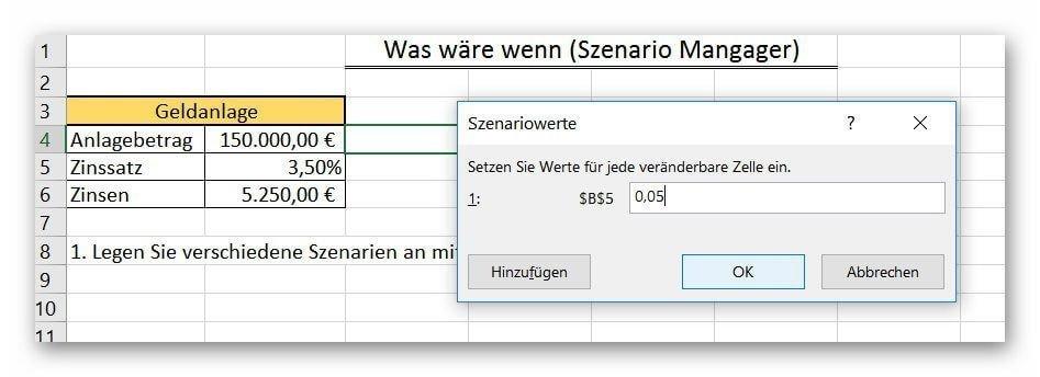 Excel 2016 Szenario Werte festlegen