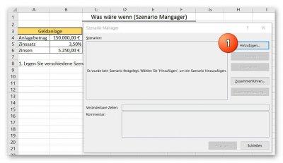 Excel 2016 Szenario hinzufügen
