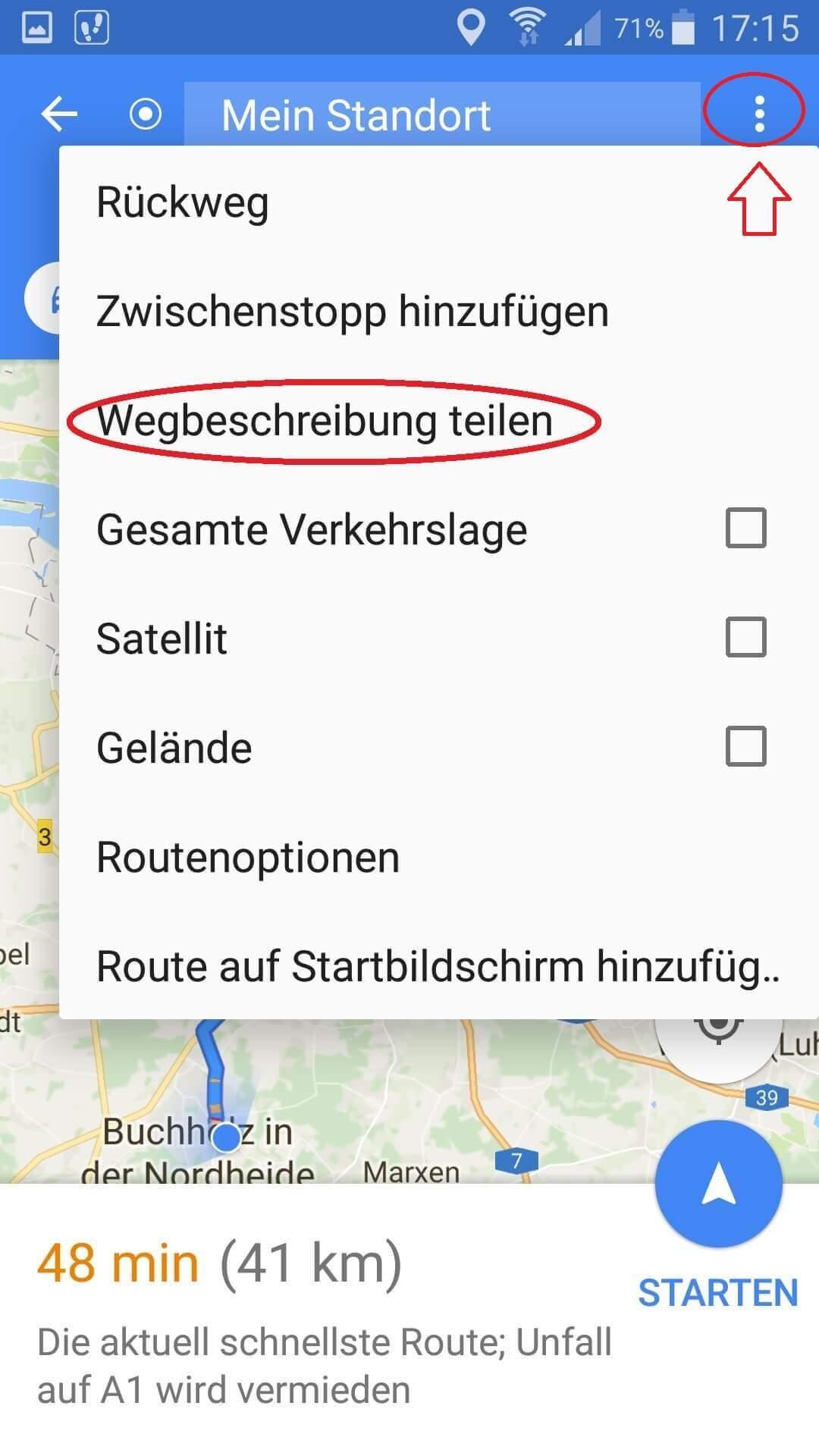 Google Maps Webbeschreibung teilen