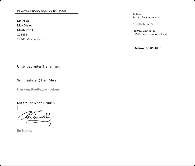 Word Briefvorlage Premium Bildunterschrift