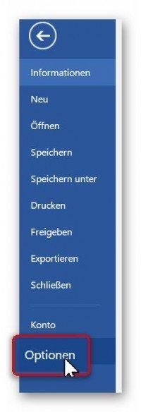 Word 2016 Optionen