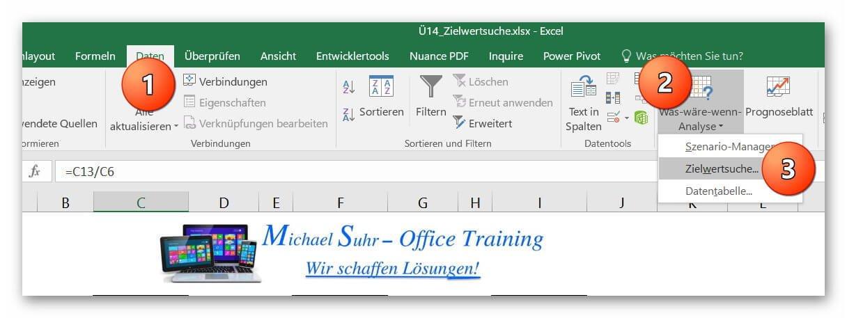 Excel 2016 Zielwertsuche aufrufen