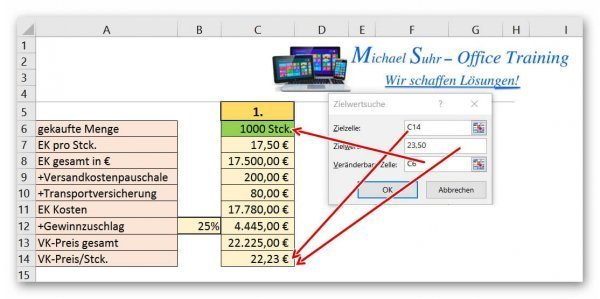 Complete target value search in Excel