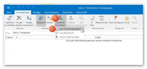 Add recipient to distribution list in Outlook