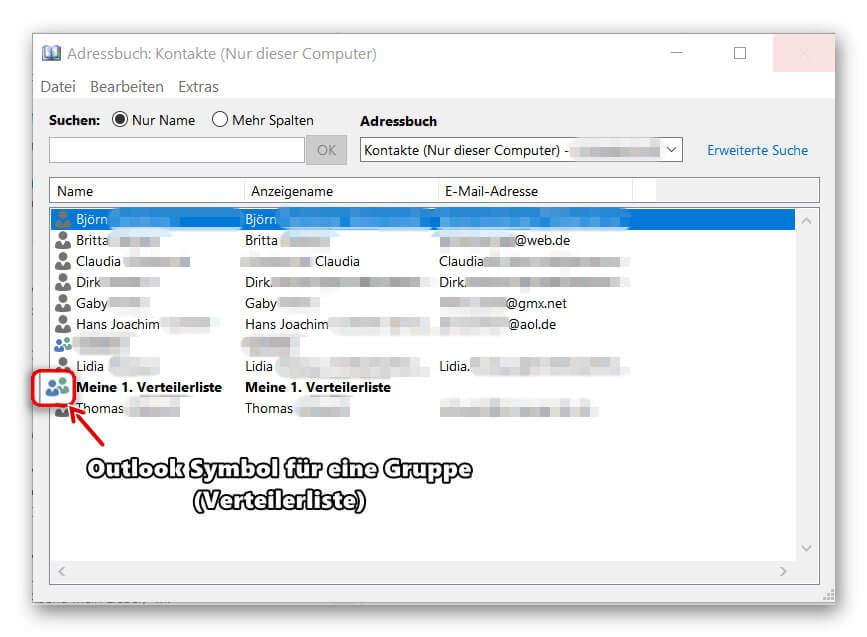 Outlook Adressbuch