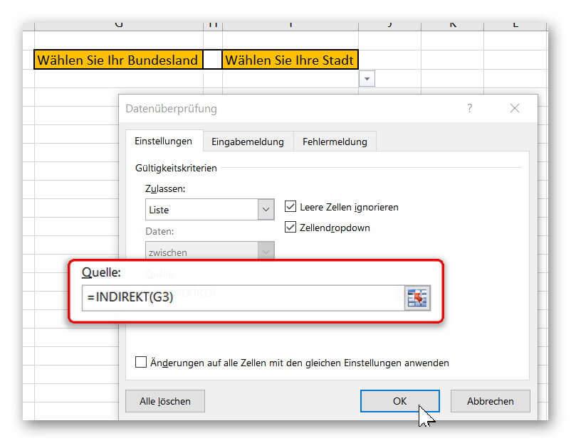 Abhängige Dropdownliste in Excel