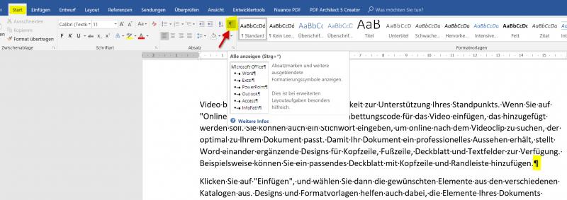 Absatzmarken in Word aktivieren