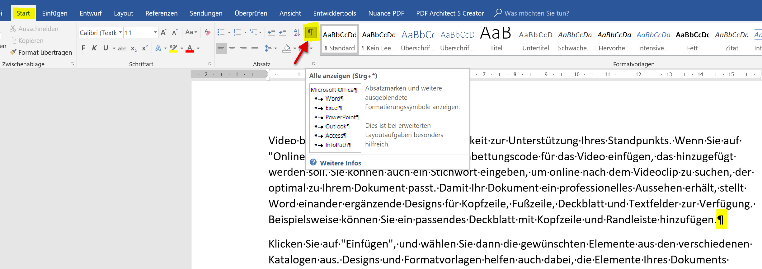 Formatierungssymbole in Word