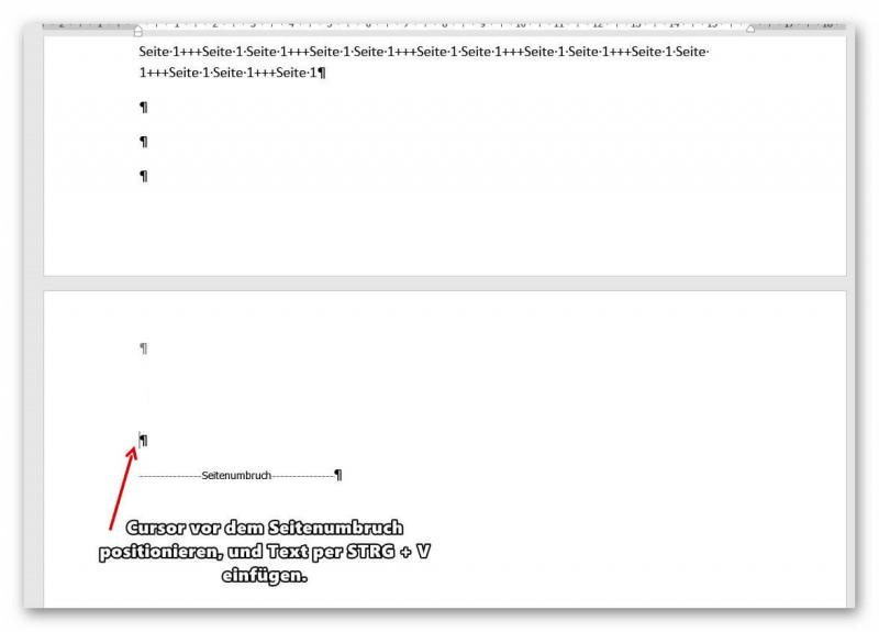 Seiten in Word verschieben Text einfügen