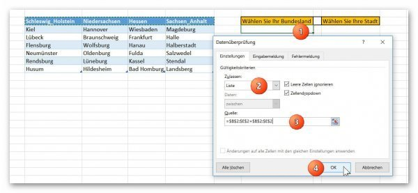 Datenquelle in Excel festlegen