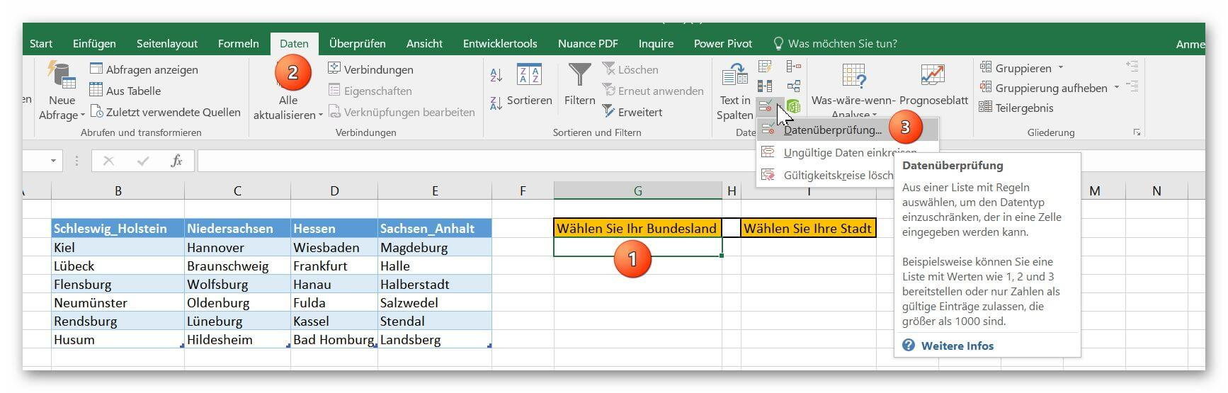 To create interdependent drop-down lists in Excel 2016