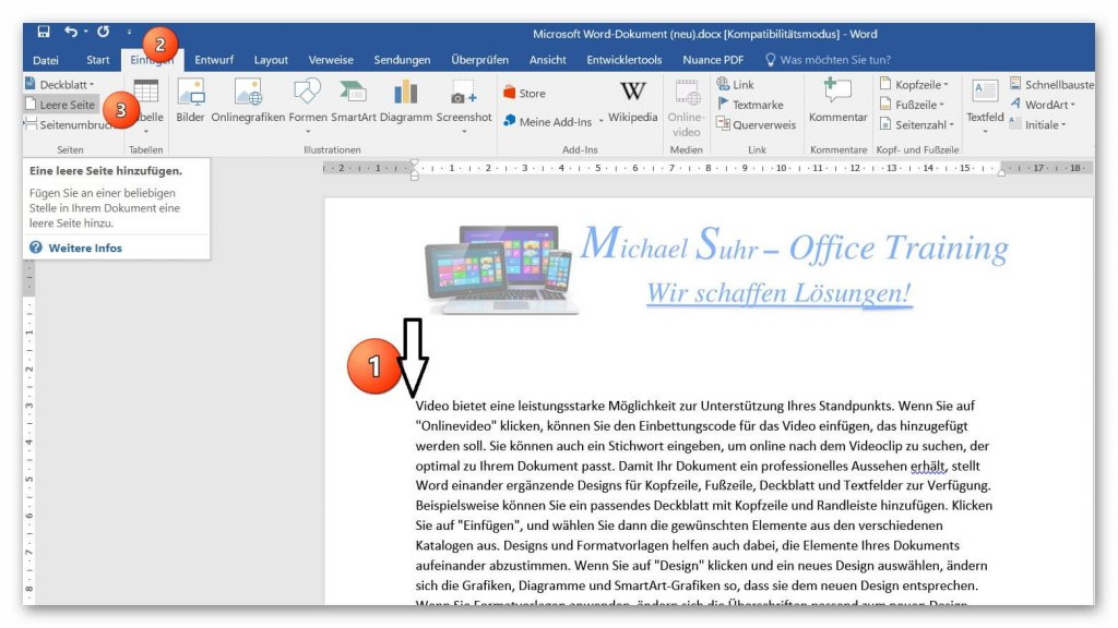 Insert pages in Word 2016 and move pages in the document.