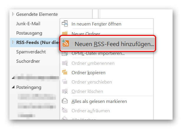 RSS-Feed in Outlook hinzufügen