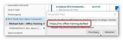 RSS-Feed in Outlook einfügen