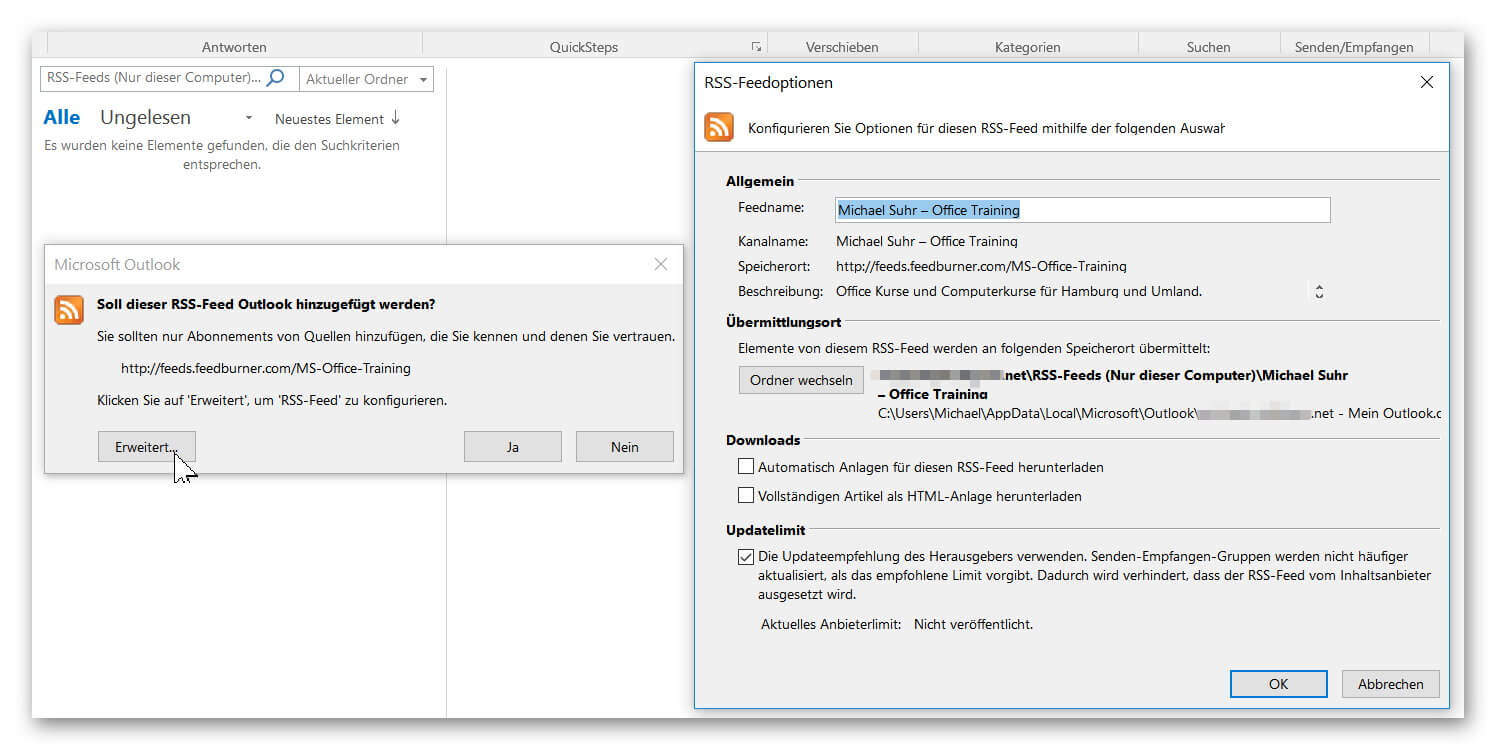RSS-Feed Outlook Einstellungen