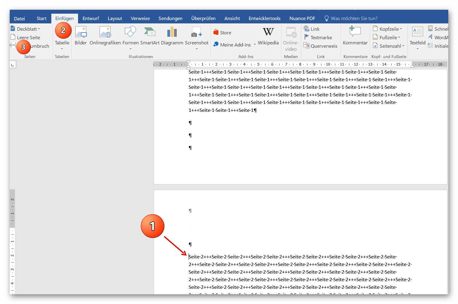 Seiten im Word Dokument vertauschen