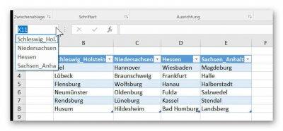 Tabellennamen in Excel anzeigen