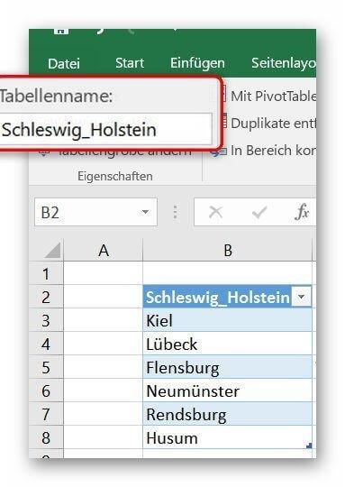 Tabellennamen in Excel vergeben