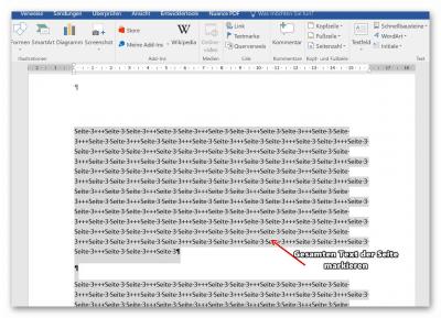 Seiten in Word verschieben Text ausschneiden