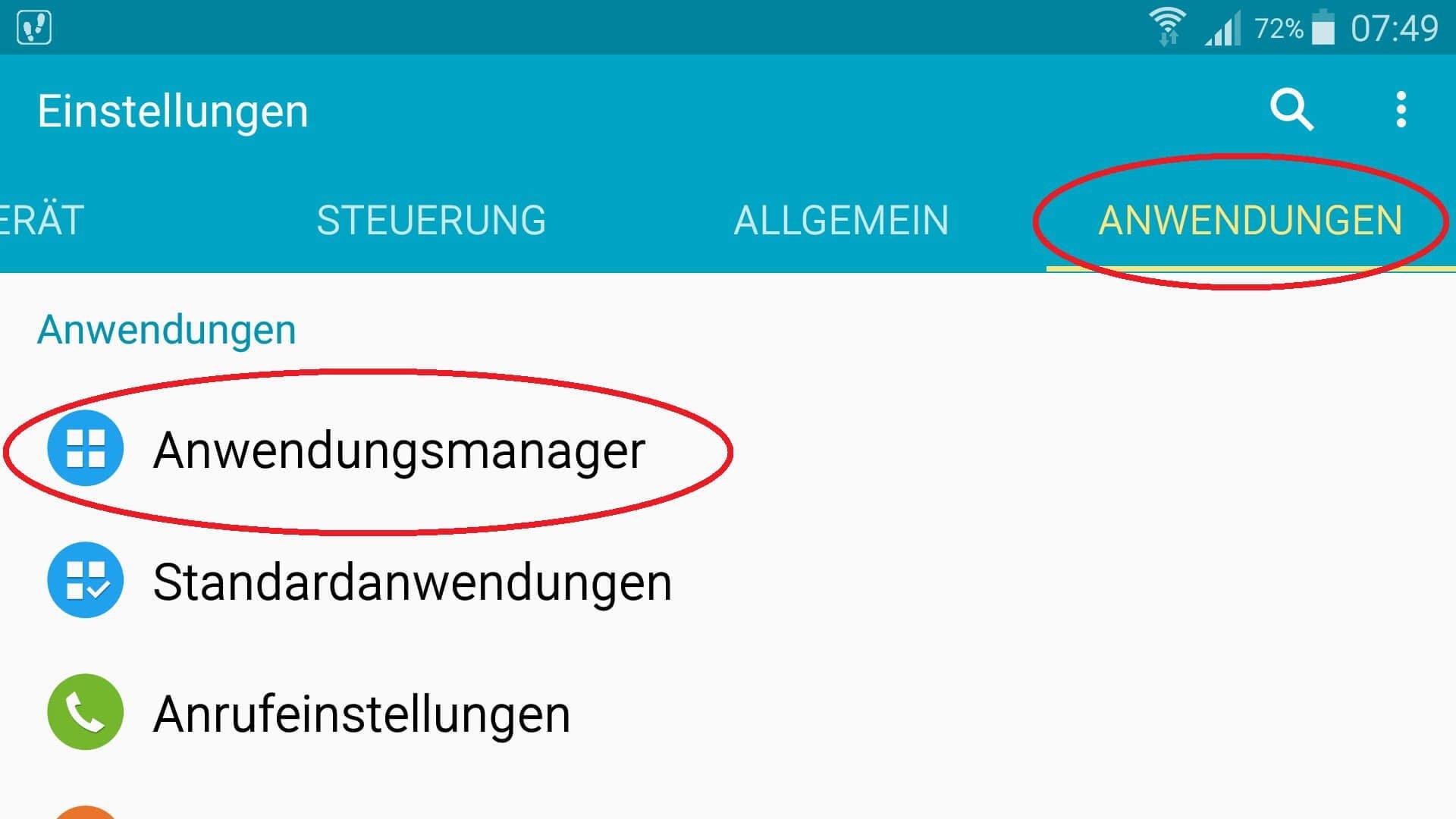 Android-Anwendungseinstellungen