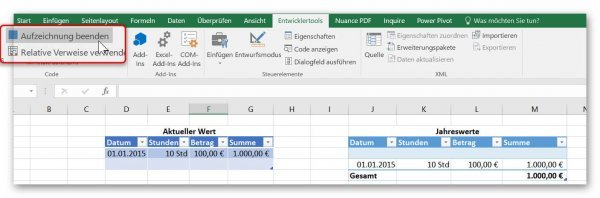 Stop macro recording in Excel