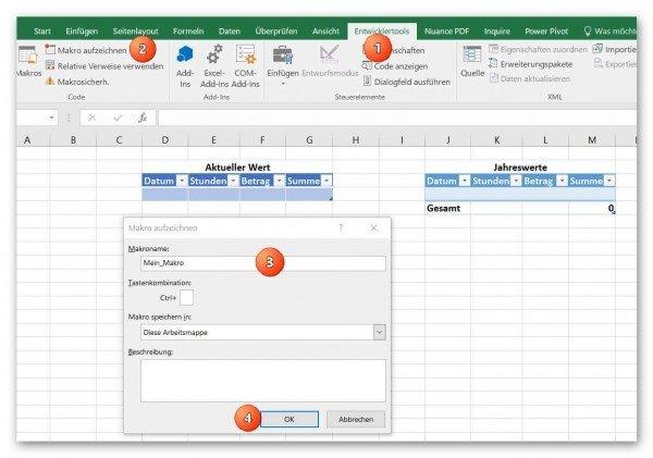 Makro in Excel aufzeichnen