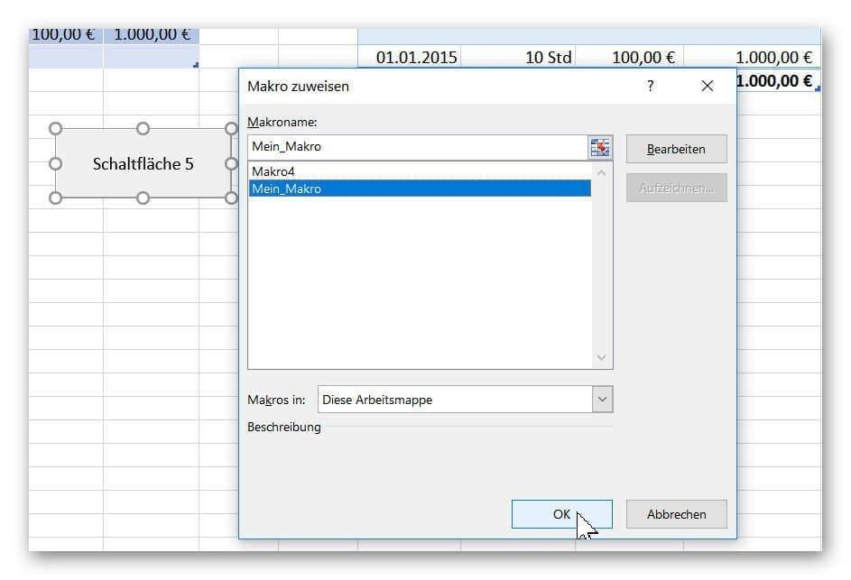 Makro einer Schaltfläche in Excel zuweisen