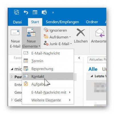 Neuen Kontakt in Outlook anlegen